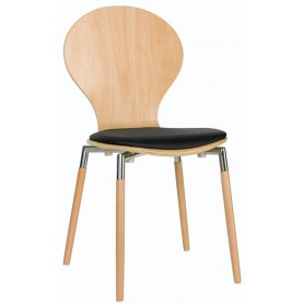 Sedia struttura in acciaio cromato e legno scocca in legno multistrato cuscino in ecopelle