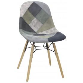 Sedia struttura in legno e metallo rivestimento in tessuto