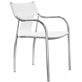 Poltroncina struttura in acciaio cromato seduta e schienale in ecopelle