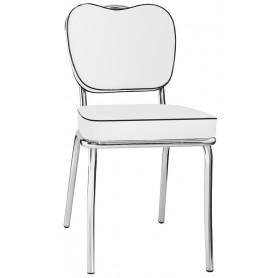 Sedia struttura in acciaio cromato seduta e schienale in ecopelle versione 2
