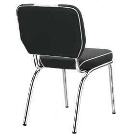 Sedia struttura in metallo cromato seduta e schienale in ecopelle