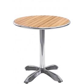 Tavolo base in alluminio ripiano in legno piano rotondo Ø70x73 cm