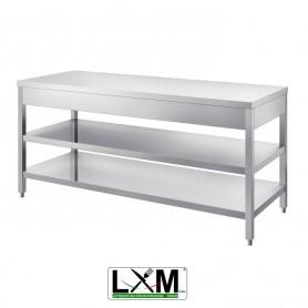 Tavolo in acciaio Inox su gambe - DUE RIPIANI - prof. 60 cm