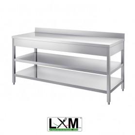 Tavolo in acciaio Inox su gambe - DUE RIPIANI - con Alzatina prof. 60 cm