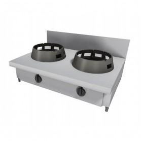 Cucina Wok - Da Banco Rialzata con Alzatina - 2 Fuochi - 1000x600x275h mm