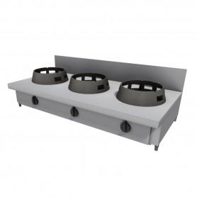 Cucina Wok - Da Banco Rialzata con Alzatina - 3 Fuochi - 1500x600x275h mm