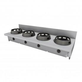Cucina Wok - Da Banco Rialzata con Alzatina - 4 Fuochi - 2000x600x275h mm