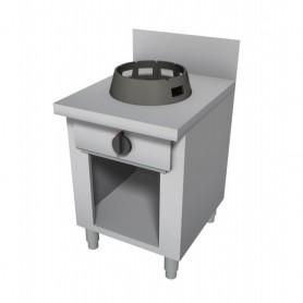 Cucina Wok - Su Vano a Giorno con Alzatina - 1 Fuoco - 600x600x850h mm