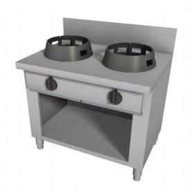 Cucina Wok - Su Vano a Giorno con Alzatina - 2 Fuochi - 1000x600x850h mm