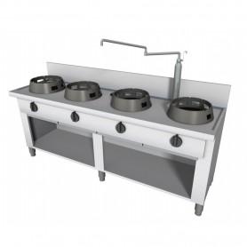 Cucina Wok - Su Vano a Giorno con Alzatina - 5 Fuochi - 2500x600x850h mm