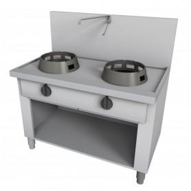 Cucina Wok - Su Vano a Giorno, Alzatina e Rubinetto a Leva - 2 Fuochi - 1000x700x850h mm
