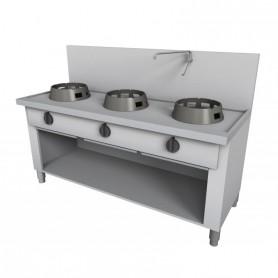Cucina Wok - Su Vano a Giorno, Alzatina e Rubinetto a Leva - 3 Fuochi - 1500x700x850h mm