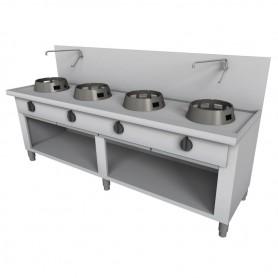 Cucina Wok - Su Vano a Giorno, Alzatina e Rubinetto a Leva - 4 Fuochi - 2000x700x850h mm