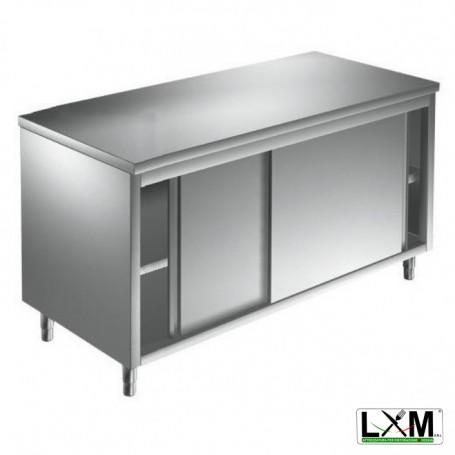 Tavolo da lavoro in acciaio Inox con porte scorrevoli prof. 80 cm