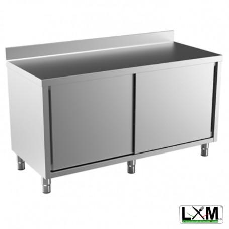 Tavolo da lavoro in acciaio Inox con porte scorrevoli e alzatina prof. 60 cm