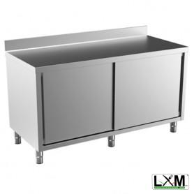Tavolo da lavoro in acciaio Inox con porte scorrevoli e alzatina prof. 80 cm