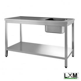 Tavolo da Lavoro INOX - Con Vasca 400x400 a Destra - Profondità 600mm