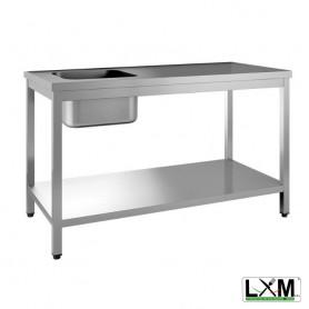 Tavolo da Lavoro INOX - Con Vasca 400x400 a Sinistra - Profondità 700mm