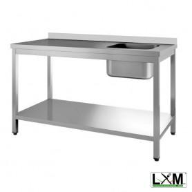 Tavolo da Lavoro INOX - Con Vasca 400x400 a Destra con Alzatina - Profondità 600mm