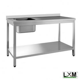 Tavolo da Lavoro INOX - Con Vasca 400x400 a Sinistra con Alzatina - Profondità 600mm