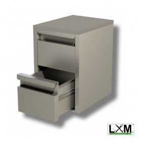 Cassettiera Inox GN - 2 Cassetti - 400x585x580mm