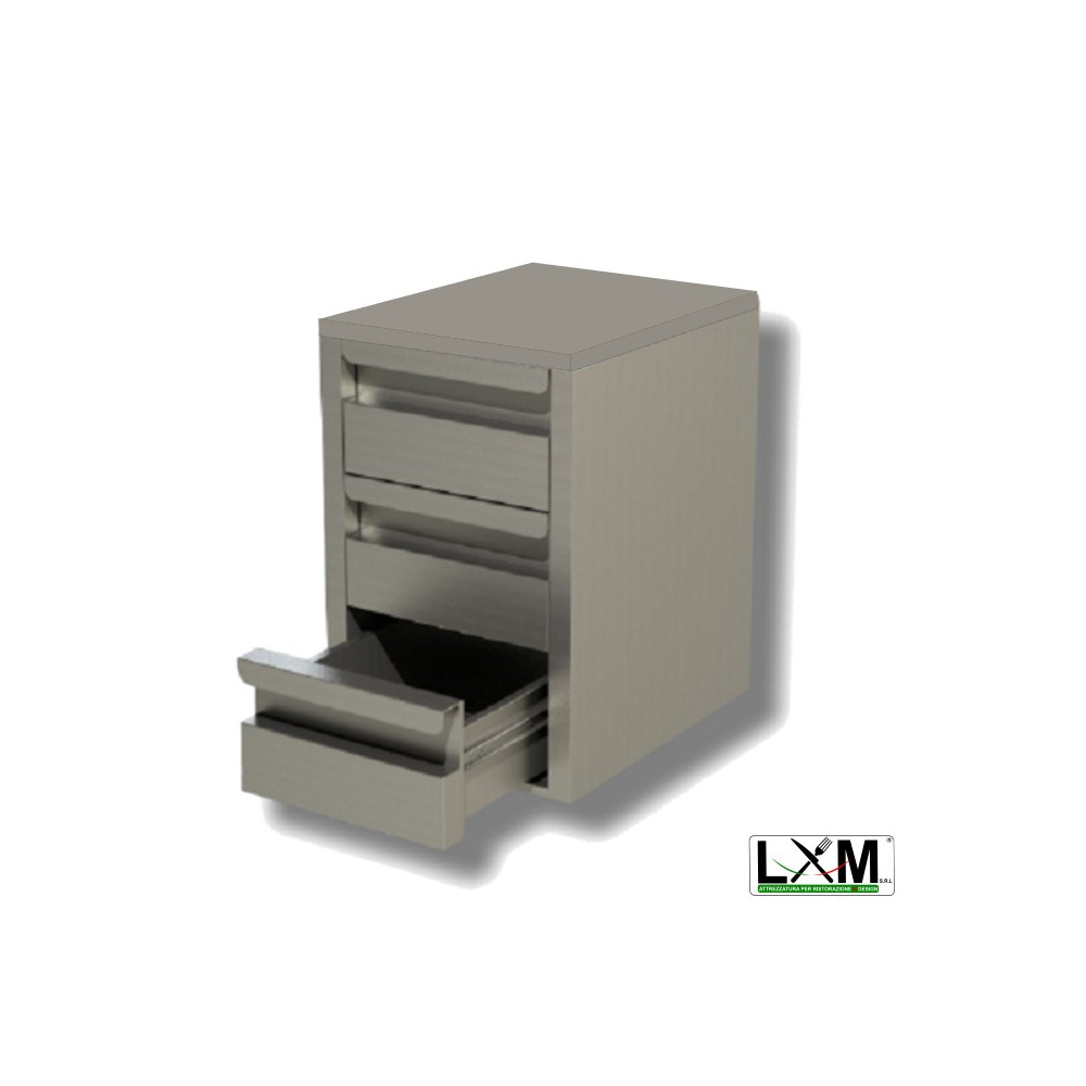 Cassettiera A 3 Cassetti.Cassettiera Inox Gn 3 Cassetti 725x685x580mm