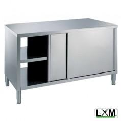 Tavolo da lavoro in acciaio inox passante con porte scorrevoli su 2 lati prof. 70 cm