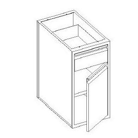 Base con cassetto 1/4 - porta battente e con 1 ripiano - 500x700x850h mm