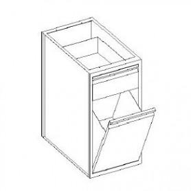 Base con cassetto 1/4 - tramoggia a ribalta - 600x600x850h mm