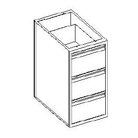 Base cassettiera 3 cassetto 1/3 - 600x600x850h mm