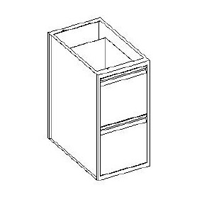 Base cassettiera 2 cassetti 1/2 - 600x700x850h mm