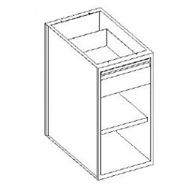 Base con cassetto 1/4 - vano a giorno e con 1 ripiano - 600x600x850h mm