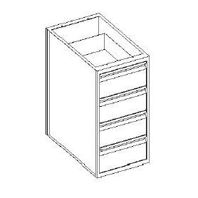 Base cassettiera 4 cassetti 1/4 - 500x600x850h mm