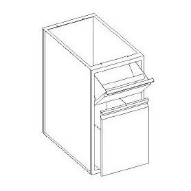 Base con cassetti 1/3 batticaffè - madia su guide e bidone raccolta - 400x700x850h mm