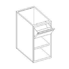 Base con cassetti 1/3 batticaffè - vano a giorno e con 1 ripiano - 400x600x850h mm