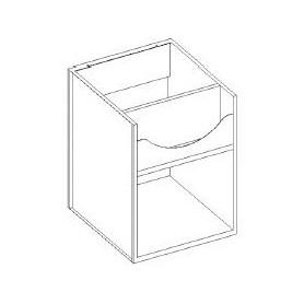 Base lavello / vasca a giorno - portabottiglie interno e scarichi a parete - 1200x600x850h mm