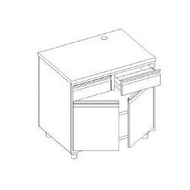 Retrobanco macchina caffè - cassetto battifondo e servizio - base con 2 porte battente e 1 ripiano - 800x700x1000h mm