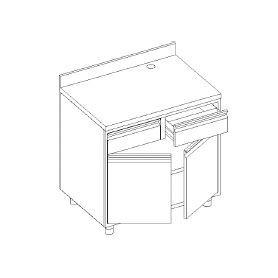 Retrobanco macchina caffè - con ALZATINA - cassetto battifondo e servizio - base con 2 porte e 1 ripiano - 1000x700x1000h mm