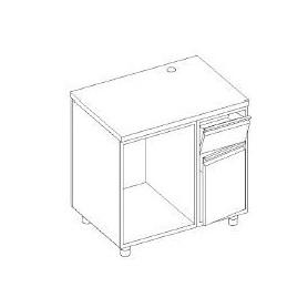 Retrobanco macchina caffè - base tramoggia battifondi e porta battente - base aperta scarichi pedana - 1100x600x1000h mm