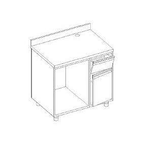 Retrobanco macchina caffè - con ALZATINA - base tramoggia battifondi e porta - base aperta scarichi pedana - 1100x700x1000h mm