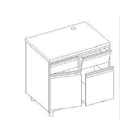 Retrobanco macc. caffè - tramoggia battifondi e madia guide + bidone - base con cassetto e porta battente - 1200x600x1000h mm