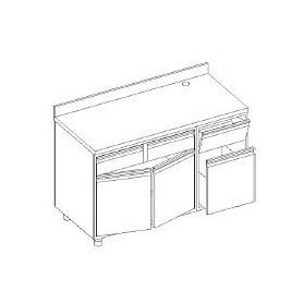 Retrobanco macc. caffè - ALZATINA - tram. battifondi porta batt. base con cass. e porta batt. - scar. pedana - 1400x700x1000h mm