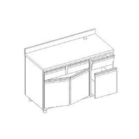 Retrobanco macc. caffè - ALZATINA - tram. battifondi porta batt. base con cass. e porta batt. - scar. pedana - 1500x700x1000h mm