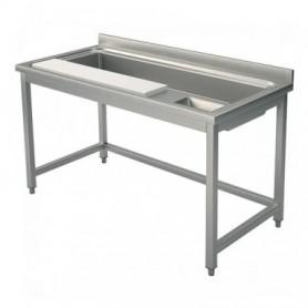 Tavolo preparazione verdure - 1 vasca - 1 tagliere - 1300x700x850mm