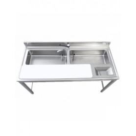 Tavolo preparazione verdure - 2 vasche - 1 tagliere - 1600x700x850mm