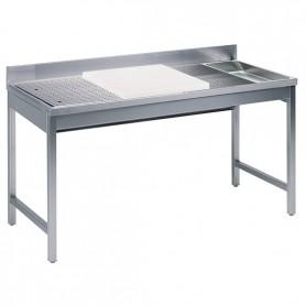 Tavolo preparazione Pesce - Predisposto a getti d'acqua - 1800x700x850mm
