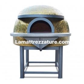 Forno a legna artigianale per pizzeria - Modello Mosaico GOLD - Camera interna 120x120 cm
