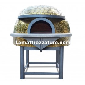 Forno a legna artigianale per pizzeria - Modello Mosaico GOLD - Camera interna 150x150 cm