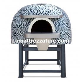 Forno a legna artigianale per pizzeria - Modello Mosaico SILVER - Camera interna 120x120 cm