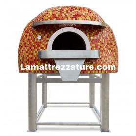 Forno a legna artigianale per pizzeria - Modello Mosaico BRONZE - Camera interna 150x150 cm